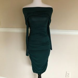 Bebe Off-the-Shoulder Emerald Green Ruched Dress